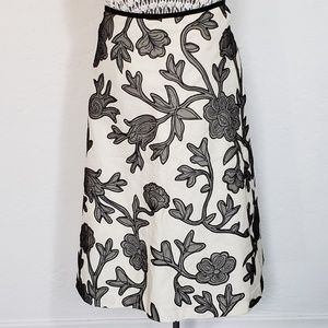 Embroidered Cotton Linen Blend Fit and Flare Skirt